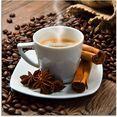 artland print op glas koffiekopje linnen zak met koffiebonen bruin