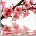 artland print op glas perzikbloesem reflecteert op het water roze
