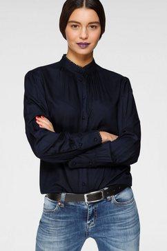 ajc blouse met lange mouwen met kleine opstaande kraag en randdessin blauw