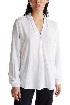esprit shirtblouse met sluiting met parelmoerknopen wit