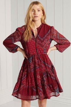superdry chiffonjurk jurk met overhemdkraag met vetersluiting rood