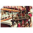 artland artprint oude boot in detail in vele afmetingen  productsoorten - artprint van aluminium - artprint voor buiten, artprint op linnen, poster, muursticker - wandfolie ook geschikt voor de badkamer (1 stuk) beige