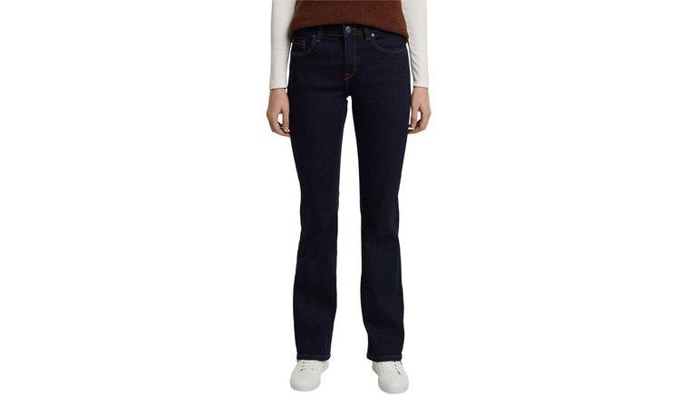 Esprit bootcut jeans van stretch-denim met lichte washed- en used effecten