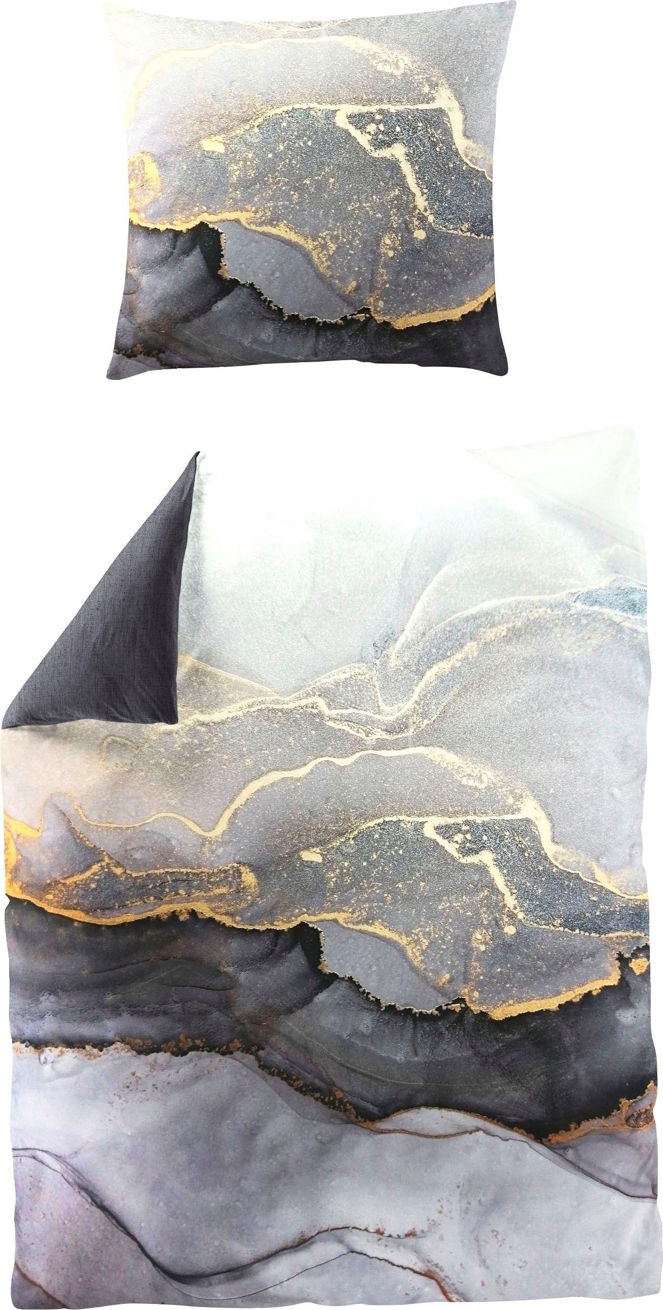 BIERBAUM tweezijdig te gebruiken overtrekset Grey stone met fantasievolle print (2-delig) online kopen op otto.nl