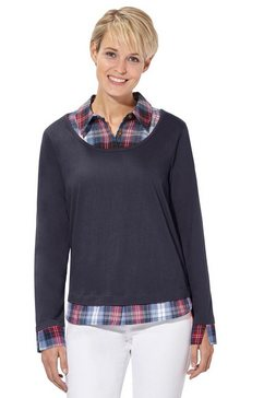 casual looks 2-in-1-shirt in populaire laagjes-look blauw