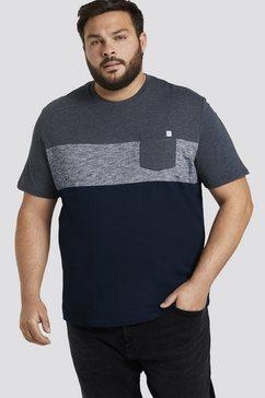 tom tailor men plus t-shirt »blockstreifen t-shirt mit brusttasche« blauw