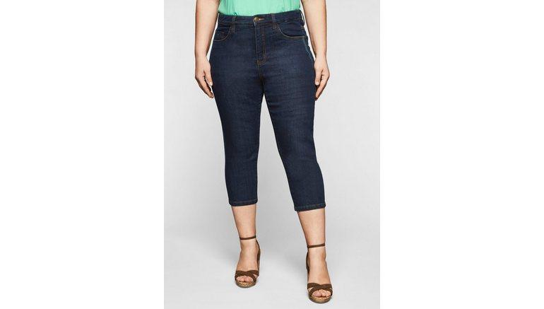 Sheego capri jeans met catfaces en contrastnaden