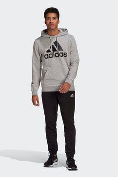 adidas performance trainingspak aeroready essentials kangaroo pocket big logo (set, 2-delig) grijs