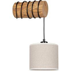 otto products wandlamp emmo wandlamp met hoogwaardige textielen kap oe 17,5 cm van linnen  katoen, massief grenenhout, natuurproduct, duurzaam met fsc-certificaat, made in europe bruin