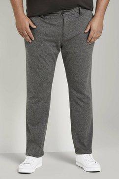tom tailor men plus 7-8-broek slim fit-broek met pied-de-poulemotief grijs