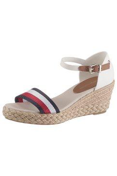 tommy hilfiger sandaaltjes »shimmery ribbon mid wedge sandal« wit