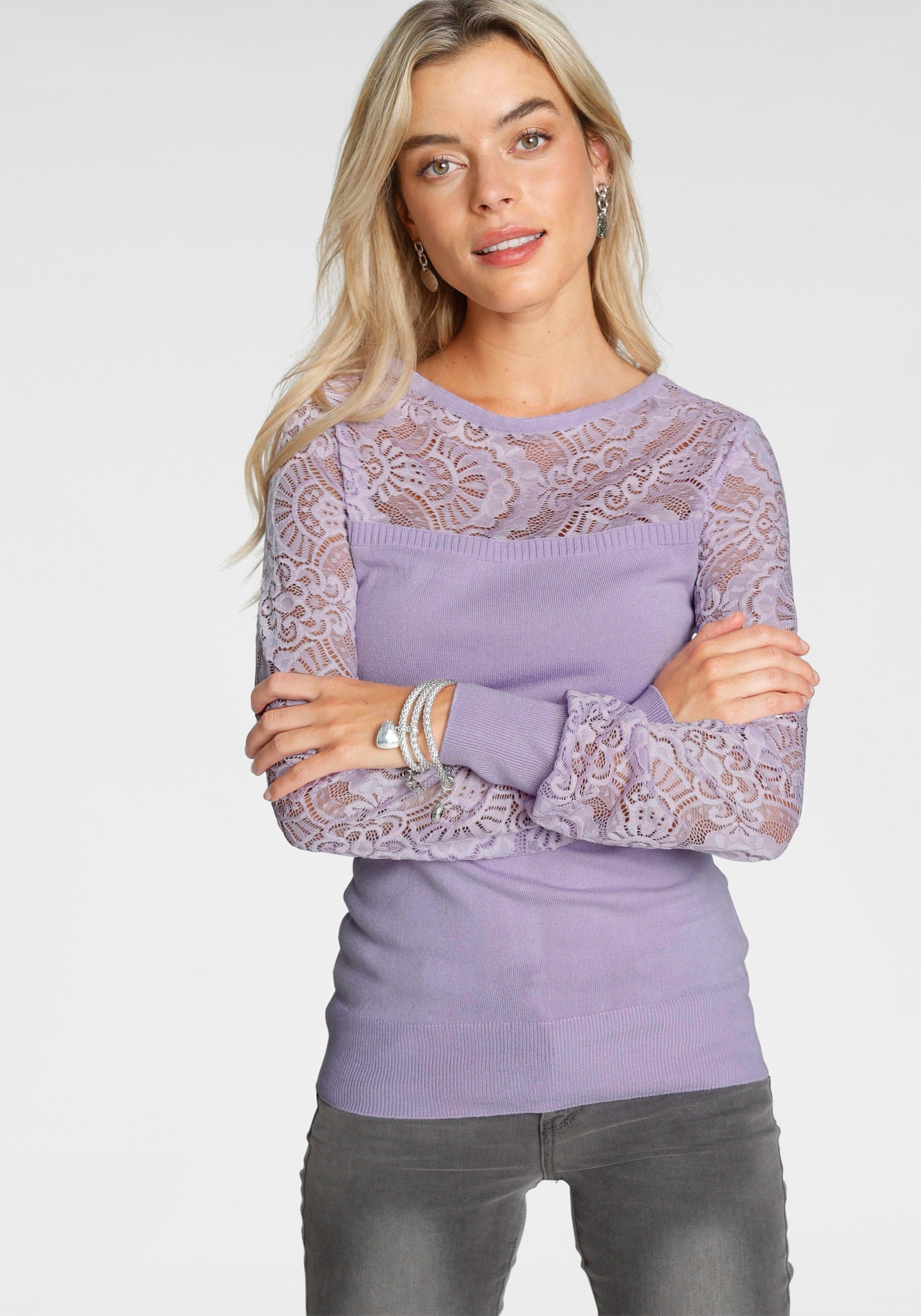 Op zoek naar een Melrose trui met ronde hals met kant en sierknopen? Koop online bij OTTO