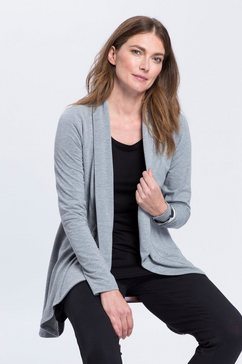 boysen's shirtjasje in lange model dat voor kort en achter lang is grijs