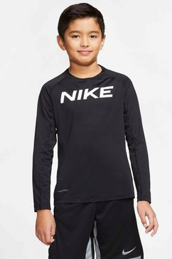 nike functioneel shirt »boys longsleeve fitted top« zwart