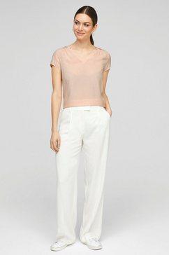 s.oliver black label blouse met korte mouwen met v-hals en opgestikt schouderstuk roze