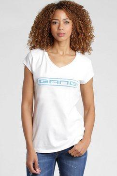 gang shirt met v-hals base met logo-frontprint wit
