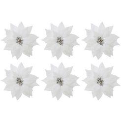 kerstboomversiering op clip christus-ster met clip voor bevestiging (set, 6-delig) wit