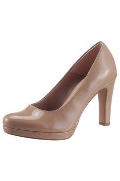 tamaris highheel-pumps in glanzende look grijs