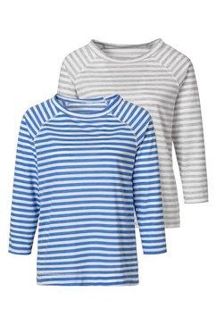h.i.s shirt met 3-4-mouwen (set van 2) blauw