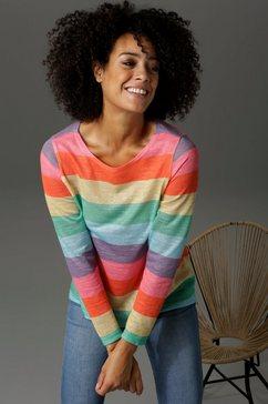 aniston casual shirt met lange mouwen met kleurige strepen multicolor