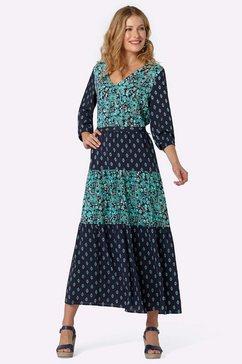 driesen gedessineerde jurk blauw