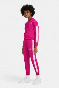 nike sportswear trainingspak girls nike sportswear track suit tricot (set, 2-delig) roze