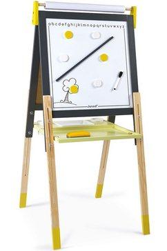 janod schoolbord magneet- en krijtbord, geel-grijs met accessoires grijs