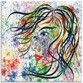 artland print op glas modern portret (1 stuk) multicolor