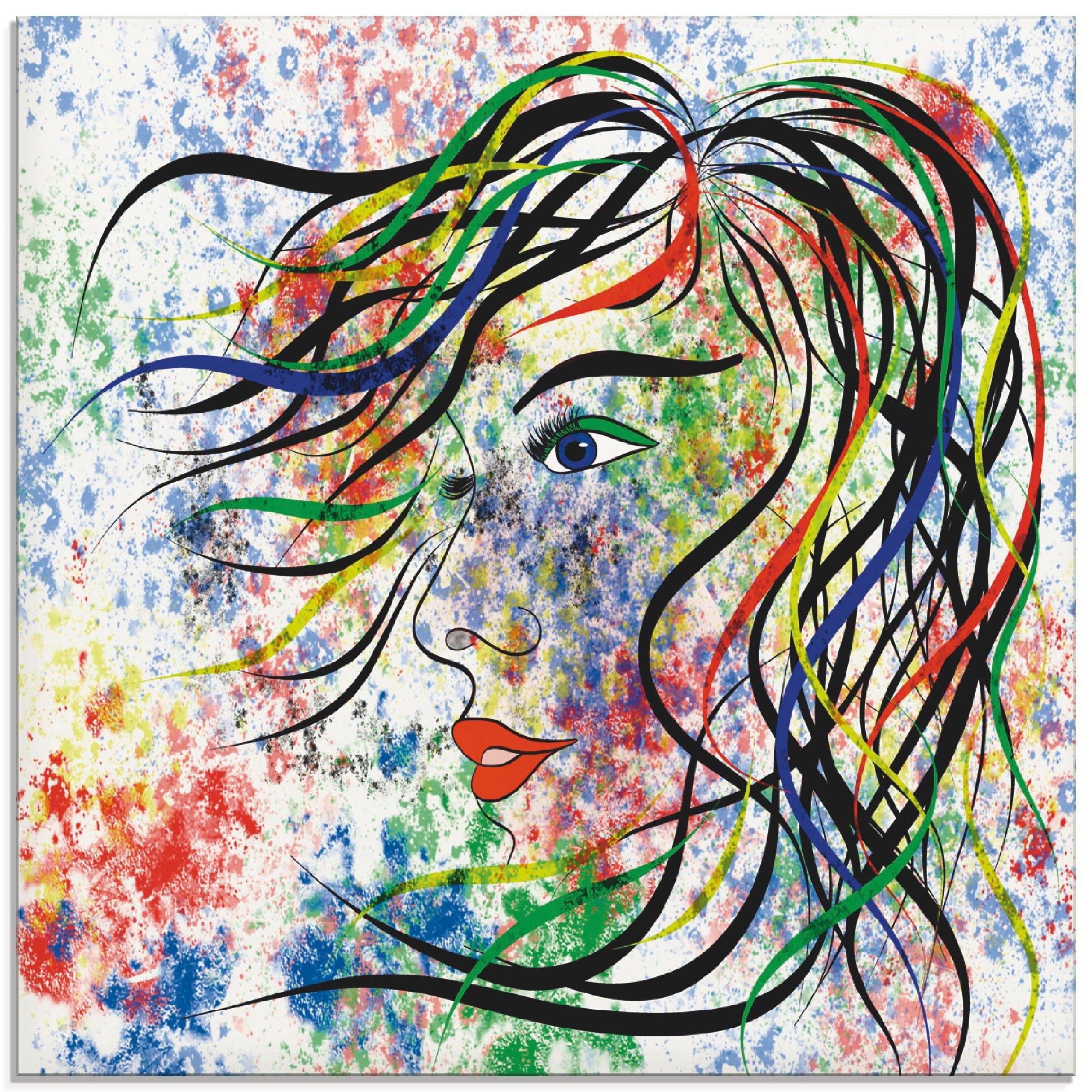 Artland print op glas Modern portret (1 stuk) - verschillende betaalmethodes