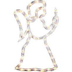 konstsmide decoratieve ledverlichting led raamsilhouet engel, voor binnen, 50 warmwitte dioden, witte kabel wit