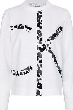 calvin klein sweatshirt met groot ck-logo met animal-print ton sur ton wit