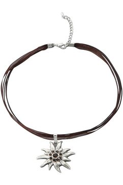 lusana collier-set met edelweisshanger (2-delig) bruin