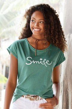 beachtime t-shirt met maritieme ankerprint groen