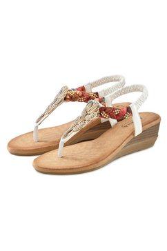 lascana sandaaltjes met strassteentjes en elastische riem wit