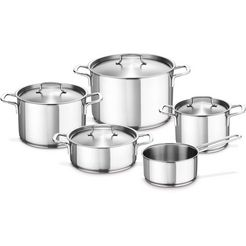 fissler pannenset gourmet regio inductie (set, 9 delig) zilver