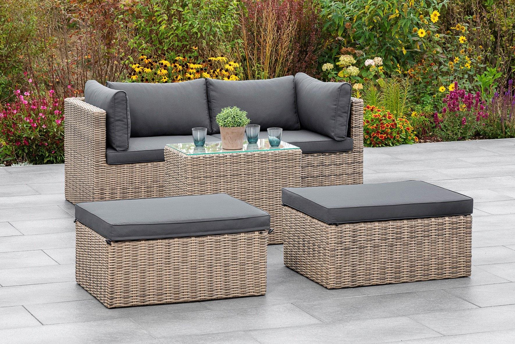 MERXX Tuinmeubelset Licosa 2 fauteuils, 2 hockers, tafel, met kussens, naturelgrijs (5-delig) veilig op otto.nl kopen