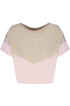 mazine t-shirt mina sportieve sweater in harmonieuze contrastkleuren beige