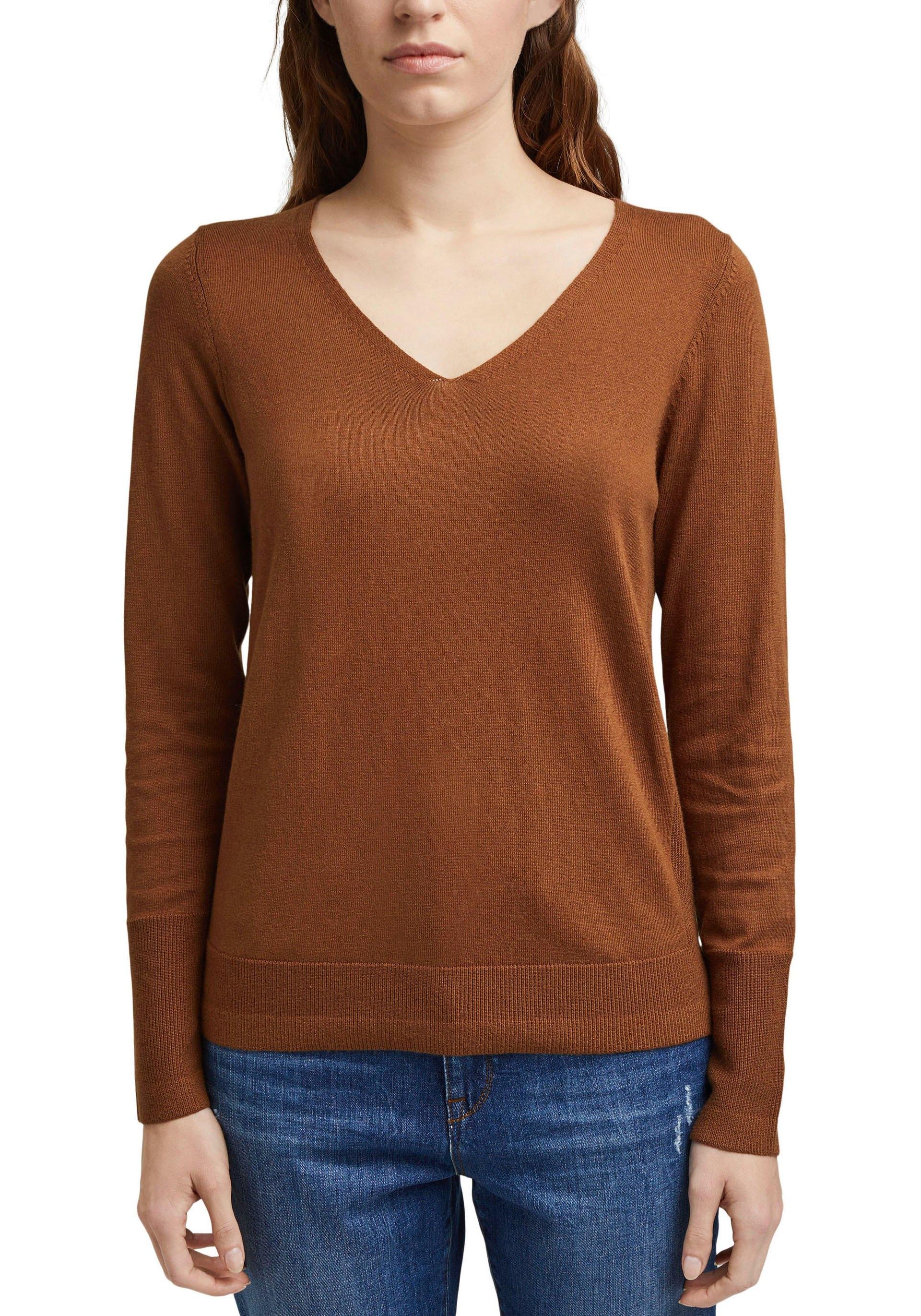 Esprit gebreide trui met v-hals en kleine structuurinzet opzij nu online bestellen