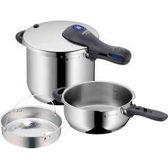 wmf snelkookpan perfect plus met een afneembare handgreep en inzet, inductie (3-delig) zilver