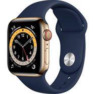 apple smartwatch series 6 gps + cellular, edelstahlgehaeuse mit sportarmband 40mm watch series 6 inclusief oplaadstation (magnetische oplaadkabel) blauw