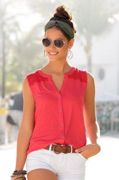 s.oliver red label beachwear strandtop met inzet bovenaan rood