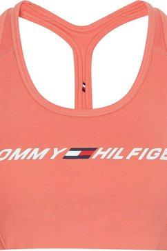 tommy sport sportbustier light intensity graphic bra met bandjes voor laag steunend vermogen  tommy hilfiger-logo-opschrift roze