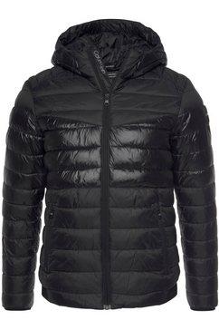 calvin klein gewatteerde jas ck recycled nylon hooded jacket stikselmix zwart