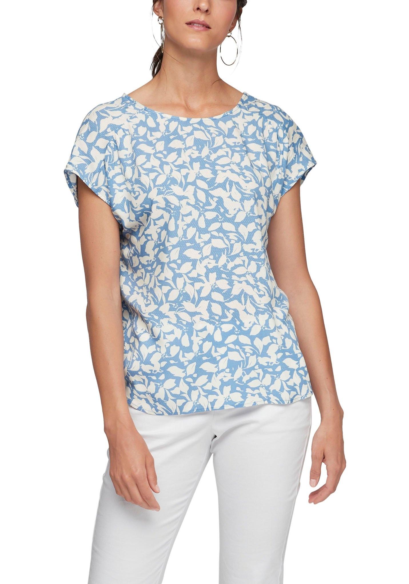 s.Oliver gedessineerde blouse Ruglijn met klein strikdetail nu online bestellen