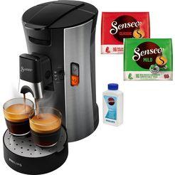 senseo koffiepadautomaat senseo select csa250-10, inclusief gratis toebehoren ter waarde van € 14,- vap zilver