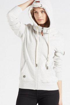 khujo sweatshirt wanari sweatvest met hoge opstaande kraag  dikke koordjes grijs