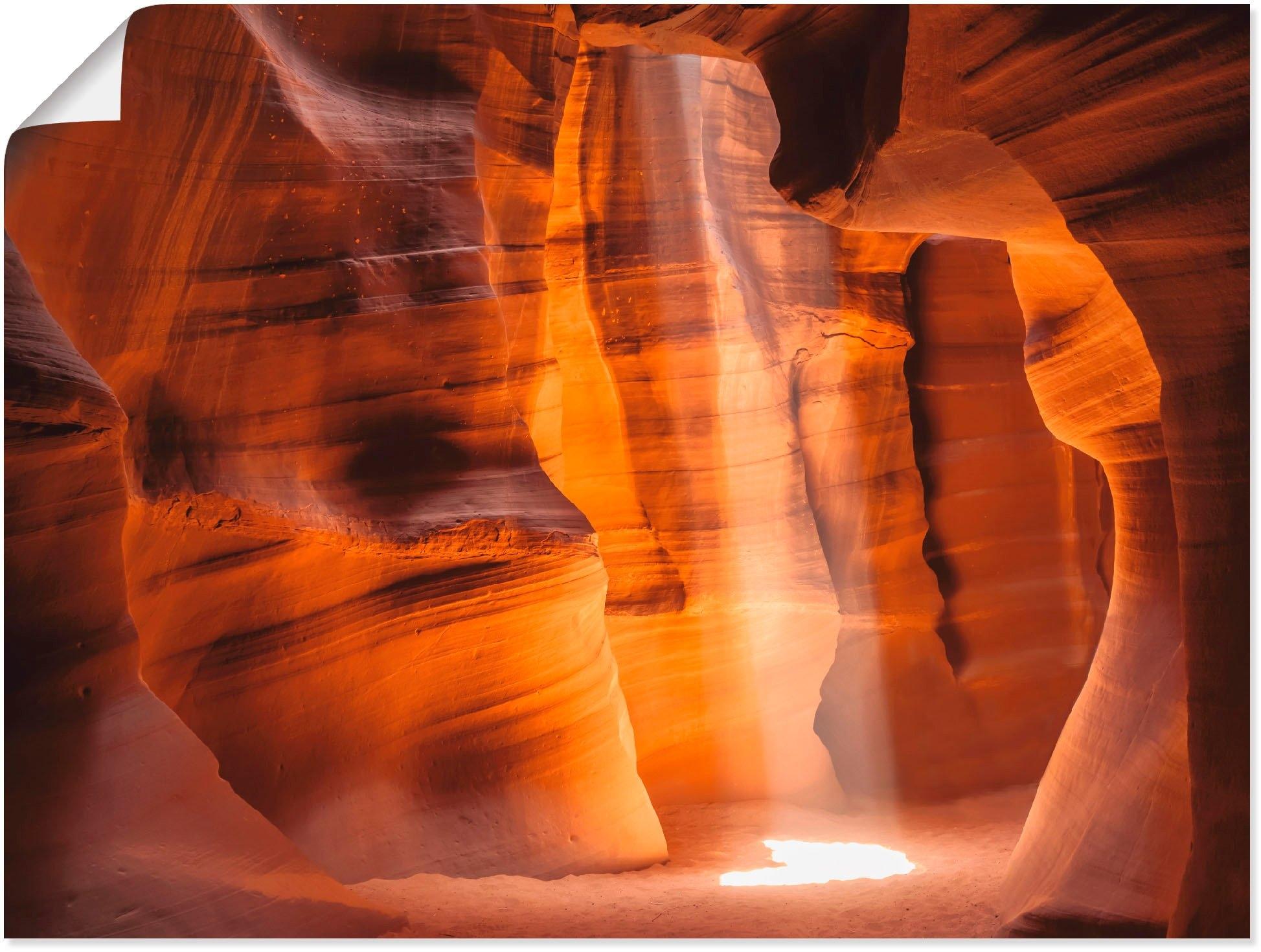 Artland artprint Antelope Canyon lichtzuil II in vele afmetingen & productsoorten - artprint van aluminium / artprint voor buiten, artprint op linnen, poster, muursticker / wandfolie ook geschikt voor de badkamer (1 stuk) - gratis ruilen op otto.nl