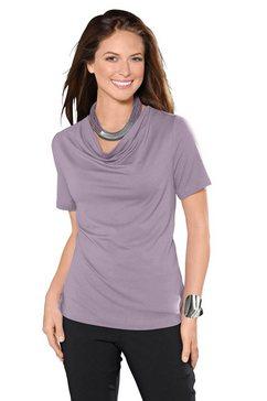 classic inspirationen shirt met prachtige cascadehals paars