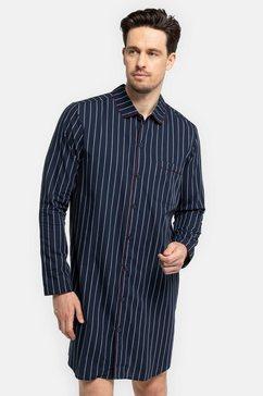 seidensticker nachthemd voor de heren van weefstof met knopen blauw