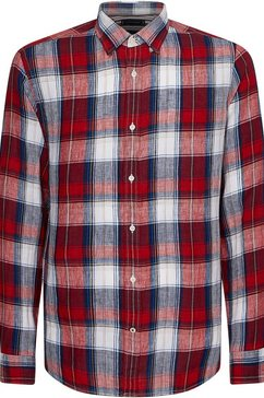 tommy hilfiger overhemd met lange mouwen linen tartan check shirt rood